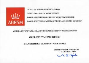 ABRSM Sınav Merkezi Belgesi